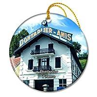 ポンタリエフランス蒸留所GUYクリスマスオーナメントセラミックシート旅行お土産ギフト