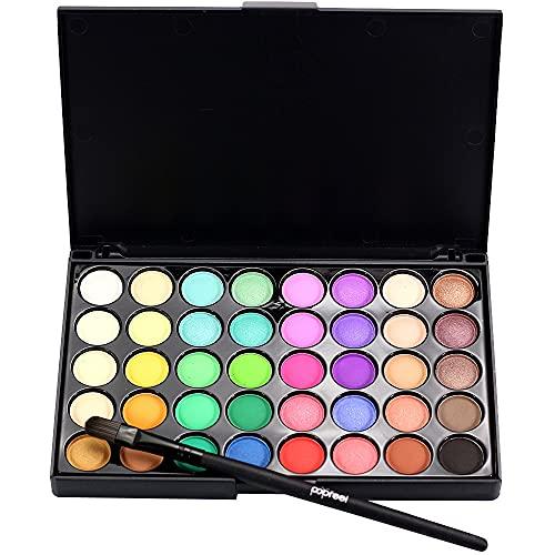 Cosmetic Matte Eyeshadow Cream Makeup Palette Shimmer Set 40 Color+ Brush Set+Fishtail Bottom Brush (Black-1)