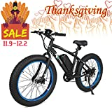 ECOTRIC Fat Tire Electric Bike Beach Snow Bicycle 26' 4.0 inch Tire Black Aluminum Ebike Powerful...