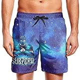Slimerland Men's Sub-Zero-Mortal-Kombat- Beach Trunks Quick Drying Waist Drawstring Mens Cargo Pants Beach Shorts