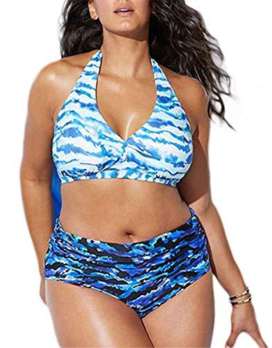 Yutdeng Bikini Tallas Grandes Traje de Baño Retro Acolchado de Cintura Alta Conjuntos de Bikinis 2 Piezas Estampado y Bordado Sexy Swimsuit Natación Playa,Azul,XXL