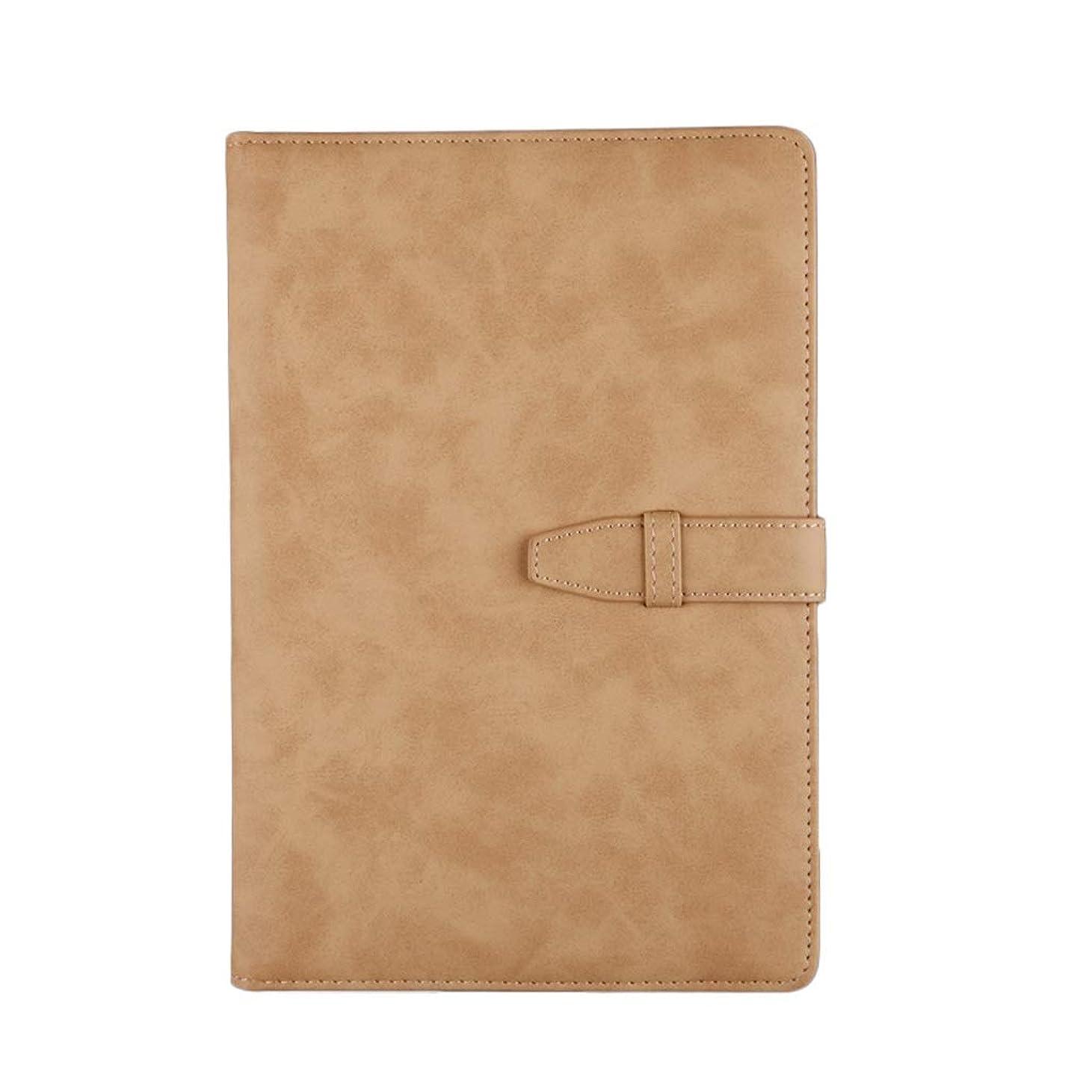 厚手のノート A5ノートブックレザーベルトバックル日記ノートブックビジネス会議の記録オフィス会議の記録のノート厚手のノート ポータブル (Color : Brown, サイズ : 15*22cm)