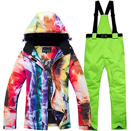 QunWang Outdoor-Skianzug Damen Jacke + Pants Winter-Multifunktionsatmungsaktiv Windabweisend Wasserdicht Warmes Ski Eindickung 3-S