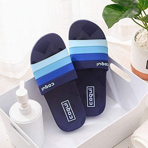 Zapatos de playa, ducha, gimnasio, chanclas para parejas, para el hogar, baño, pantuflas de fondo suave, azul oscuro, 41, suelas de espuma gruesas, fangkai77