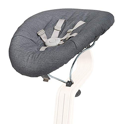 Nomi Baby, Gray Frame with Gray Cushion, Newborn Bouncer Accessory for Nomi High Chair, Seamlessly Adjusts from Lay Flat to more Upright Position, Bouncer Seat Elevates Baby to the Height of the Table