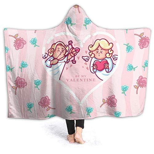 Hangdachang Cupid Rose Heart Shaped Flanell Fleece Throw Hooded Blanket Wohnzimmer/Schlafzimmer/Sofa Couch Warme weiche Bettdecke für Kinder Erwachsene die ganze Saison
