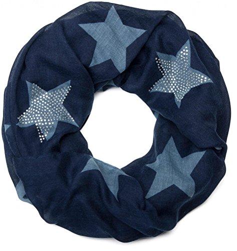 styleBREAKER Loop Schal mit Sterne Muster und edler Strass Applikation, Schlauchschal, Tuch, Damen 01018086, Farbe:Midnight-Blue-Blau (One Size)
