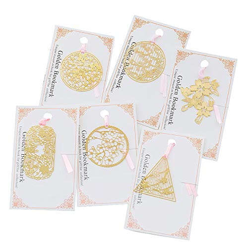 VOANZO Segnalibro stile cinese 10 pezzi Segnalibro creativo in metallo cavo Ottone vuoto Segnalibro regalo squisito vintage per regalo di compleanno Creativo