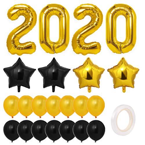 Toyvian 2020 globos decorativos, oro fiesta de graduación suministros 2020 Año Nuevo globos kit, globos grandes globos de aluminio globos de látex