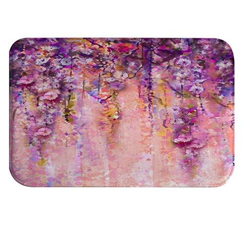 A.Monamour Color Rosa Y Violeta Glicinas Flores Acuarela Pintura Bokeh Púrpura Floral Absorbente Franela Antideslizante Alfombras De Baño Alfombrilla para Baño Dormitorio Cocina 40x60cm