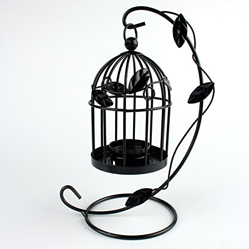 Emorias 1 Pcs Candelabro Retro Forma de Jaula de Pájaros Metal Elegante...