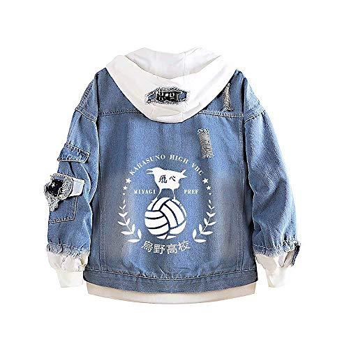 Yesgirl Haikyuu Cosplay Denim Jacket Hoodie Damen Unisex Anime Herbst Coole Jeansjacke Pullover Pulli Langarm Sweatshirt Kapuzenpullover Strickjacken Sport Shirt Blau H M
