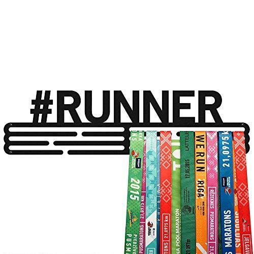 United Medals #Runner Sport Porta Medaglie Nero | Medal Hanger Display | Steel Medal Holder | (48 medaglie)