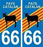 2 Autocollants Plaque Immatriculation Auto Département 66 Pyrénées Orientales Pays Catalan avec l'Ane Catalan