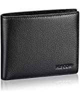 Bifold Wallet for Men, Italian Supple Genuine Leather Billfold with 3 Credit Card Slots and ID Window