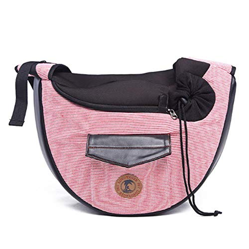 Fancyland Sling Pet Carrier - transporttas met schouderriem, draadloos, draagbaar en ademend, voor puppen, met verstelbare riem, grijs en grijs, Roze