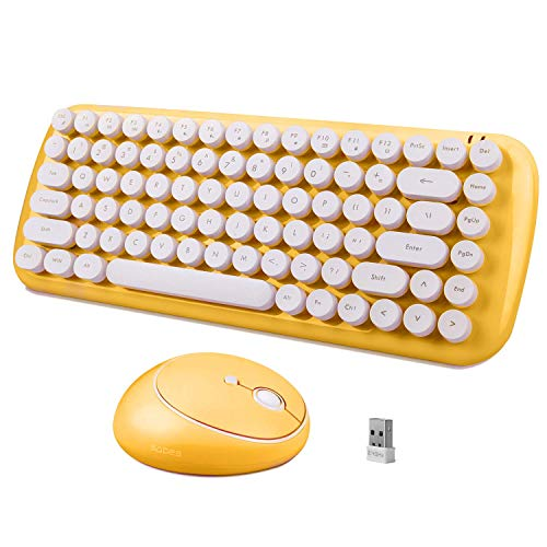 Wireless Keyboard Mouse Combo, 2.4GHz Compact Wireless Computer Keyboard with 84 Retro Keycaps, Home Office Cute Keyboard and Wireless Quite Mouse for Laptop Desktop PC Mac-Yellow