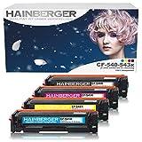 Hainberger - Confezione da 4 toner compatibili con HP CF540X CF541XCF542X CF543X per Color Laserjet Pro M-280nw M-281fdn M-281fdw M-254nw M-254dw cf540x cf541x cf542x cf543x - 203X