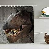 Mozenou Cortina de Ducha Impermeable,Cabeza de Dinosaurio en el Agujero de la Pared de Cemento Jurassic World Wildlife Brown and Grey,Cortinas de baño de poliéster con 12 Ganchos,tamaño 180 x 210cm