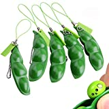 Anpole Fidget Bean Toy,5 Pack Squeeze-a-Bean Puchi Puti Mugen Edamame Keychain Keyring Extrusion Bean Pea Soybean Stress Relieving Chain Toys (5 pcs)