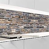 VIOLIFE selbstklebende Küchenrückwand, Spritzschutz, 0.2mm dick, für alle glatte Untergründe, Hochleistungsfolie, EXKLUSIV COLLEKTION (H:60 cm x B:80 cm, STEINWAND_2)