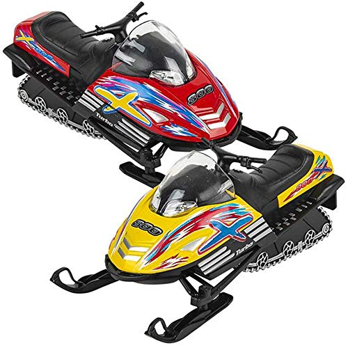 ArtCreativity Pull Back Die Cast Snow Turbo Toys, Set of 2, Mini Snowmobile Toys for Boys and Girls, Durable Diecast Metal, Fun Birthday Party Favors, Gifts, and Cake Toppers, Colors May Vary