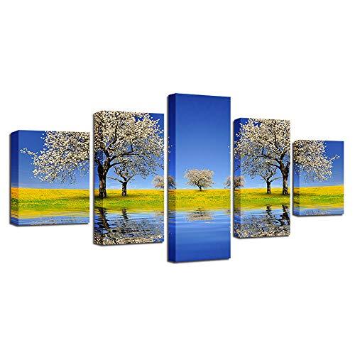 YUANSAHN canvasdruk muurkunst schilderij gedrukt decor 5 stuks mooie lamp bloemenboom rivier en groen grasveld landschap canvas foto's