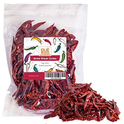 Dried Arbol Chiles Peppers 4 Oz, Great For Mexican Recipes, Salsas, Mole, Meats, Chilis, Stews, Soups, And Tamales - Medium to High Heat, Packaged In Resealable Bag By Ole Rico