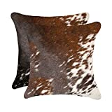 Set of 2, Natural Torino Kobe Handcrafted Soft Touch Natural Cowhide Pillow with Polyfil Insert and Zipper Closure, S&P Brown & White, 18 in x 18 in