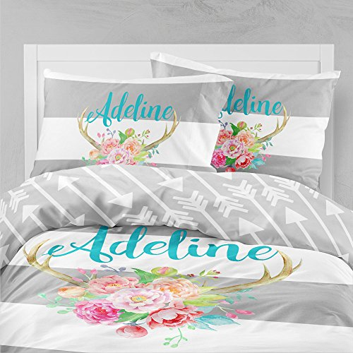Personalized Bedding Custom Bedspread Water Color Antlers