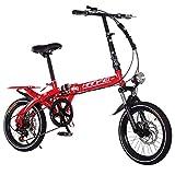 ANJING Bicicleta Plegable Ligera para Adultos, Bike de 6 Velocidades con Doble Suspensión y Doble Freno de Disco,16inch