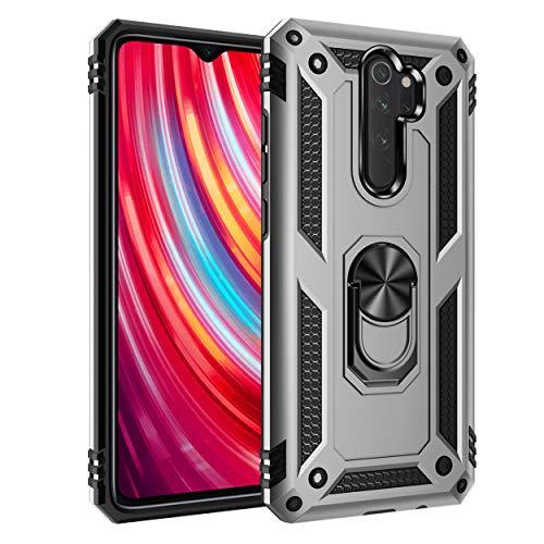JMstore Funda Compatible con Xiaomi Redmi Note 8 Pro Anillo Soporte[Funciona con El Montaje Coche Magnético]+Protectores Pantalla(Plata)