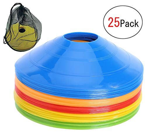 YunSCM Disc Cone Set with Holder Field Marker 25 Pcs Soccer Cones for Training, Soccer, Football, Basketball,Kids