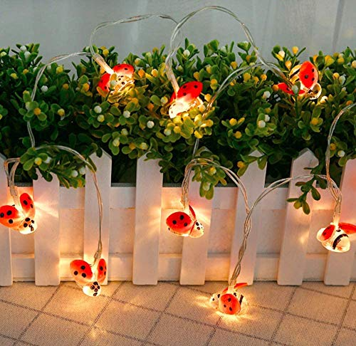 Ladybird String Light, Battery Powered Insect String Light Beetle String Light DIY Fairy String Lights for Garden Party Wedding Xmas Decoration (2M 20LED)