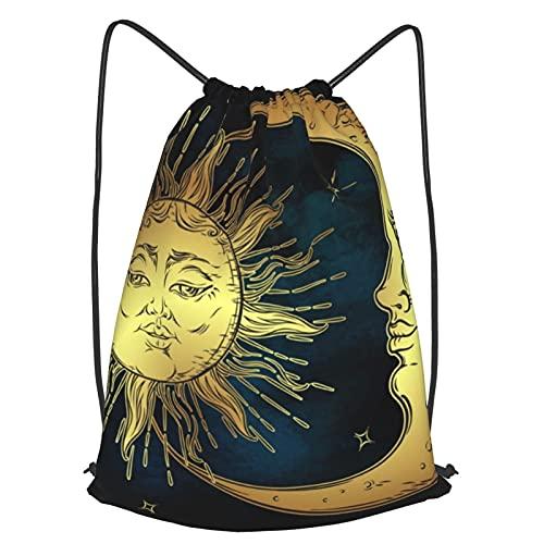 アンティーク ゴールド 太陽と月 ナップサック ジムバッグ スポーツバッグ 巾着袋 大容量 リュックサック 登山バッグ レジャー おしゃれ 折りたたみ 防水 メンズ レディース 学校 運動 旅行 収納バッグ