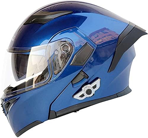 Cascos modulares de motocicleta, cascos de motocicleta Bluetooth, casco certificado DOT integrado Mp3 FM Broadcast Sistema de comunicación de intercomunicación integrado casco de seguridad (P,XXL)