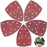 40 Pezzi Triangoli Abrasivi Velcro Carta Vetrata Levigatura Triangoli Triangolo Velcro Carta Vetrata con Dettaglio di Topo 11 Fori Ciascuno 40/60/80/120/180 Grana per Levigatrice Triangolare