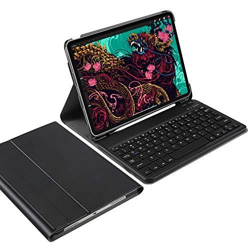 IVSO Funda con Teclado Español Ñ para iPad Pro 11 2020, Slim Stand Funda con Removible Wireless Teclado con Ñ, Negro