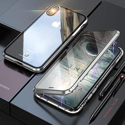 YINCANG Capa Para iPhone XS Capa Case Tampa dianteira e Traseira Totalmente Transparente Magnética à Prova de Choque Tampa Vidro Temperado Capa Para iPhone XS -prata