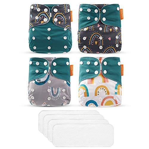 ED-Lumos Pañales Lavables de Tela 4 Pcs Pañales de tela reutilizable con insertos de tela 4 Pcs Color verde oscuro