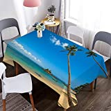 Mantel Impermeable con patrón de Playa de mar 3D, Mantel Lavable Rectangular, Utilizado en Cocina, Restaurante, Fiesta M-4 140x210cm