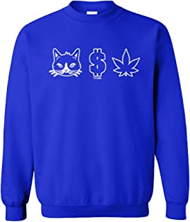 Pussy Money Weed - Cat Dollar Marijuana Unisex Crewneck Sweatshirt
