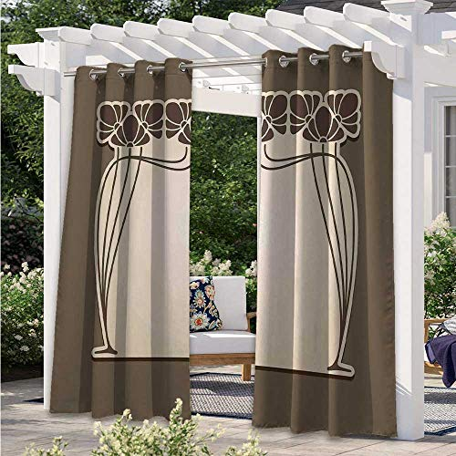 Patio Curtain Flower Bouquets Forming an Arch Vintage Style Feminine Old Fashioned Waterproof Blackout Drapery Adds Ambiance to Area Cream Umber Brown W55 x L72 Inch