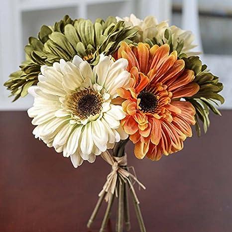 6X Artificial Silk Gerbera Daisy Flower Fake Bouquet Home Fashion Wedding C1L5