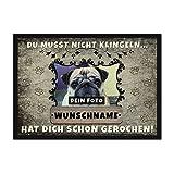 Print Royal Fußmatte personalisiert mit EIGENEM Hundefoto und Wunschname selbst gestalten - Hunde-Fußmatte mit Hundename Bedrucken Lassen - Geschenk für Hundebesitzer - 75 x 50 cm