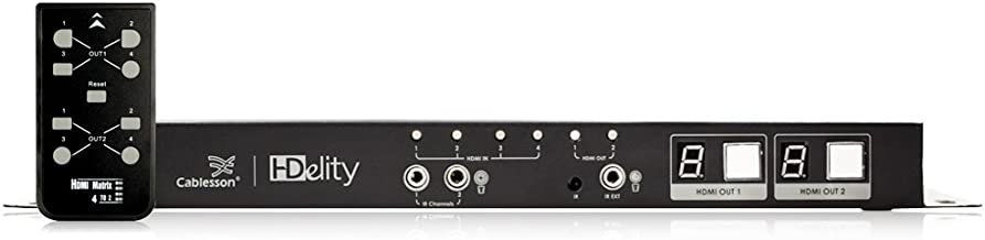 HDelity HDMI TRUE MATRIX - 4 Input 2 Output (4x2) Switch / Splitter - IR Passback - 1080p Full HD - Distribution Amplifier 3D ENABLED With Audio out