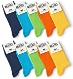 Mat & Vic's Calcetines Clásicos de Vestir para Hombre y Mujer, Algodón, Certificado Oeko-Tex 100, cómodos (10 pares, Trend Colors, UK 6-8.5 / EU 39-42)