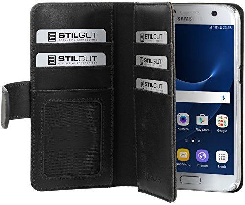 StilGut Talis XL Funda Protectora para el Samsung Galaxy S7 con Bolsillos para Tarjetas de crédito. Flip Case con Abertura Lateral como Libro para su Galaxy S7, Negro