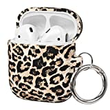 FRDERN AirPods case with Keychain Compatible for Apple AirPods 1 & 2 Soft Silicone Fadeless Pattern Printed Cases Women Girls Men , Support Wireless Charging for AirPods(Leopard)