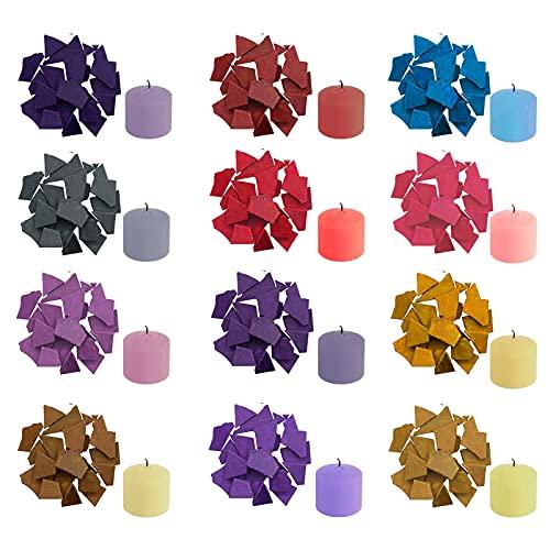 Color de cera para velas, 12 colores, 10 g/color para hacer velas, cera de soja para colorear velas, 120 g en total